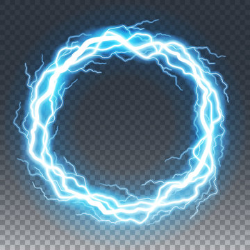 Ring of lightning and thunder bolt or electric, glow and sparkle effect