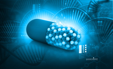 Genetic medicine. Gene therapy, 3d illustration, abstract science background .