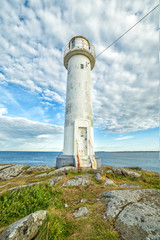 Foto op Canvas Vuurtoren Vertical view for lighthouse in Varberg