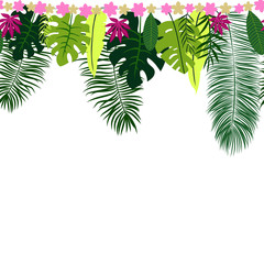 Seamless border with tropical leaves