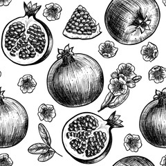 Vector pomegranate  hand drawn sketch.  Vector seamless pattern.  Vintage style