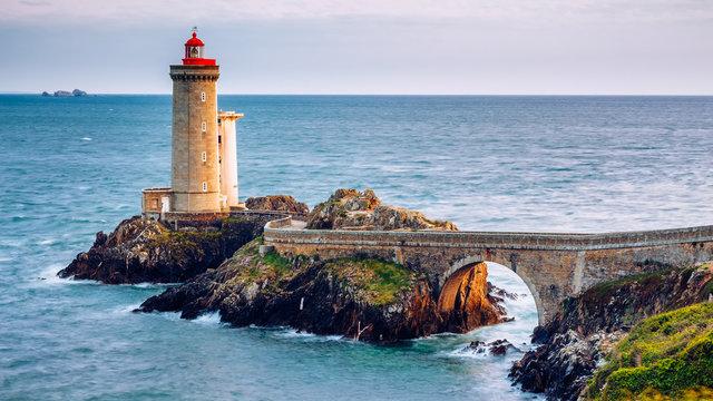 View of the lighthouse Phare du Petit Minou in Plouzane, Brittany (Bretagne), France.