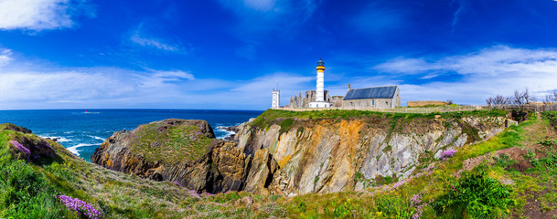 Panorama of lighthouse and ruin of monastery, Pointe de Saint Mathieu, Brittany (Bretagne), France