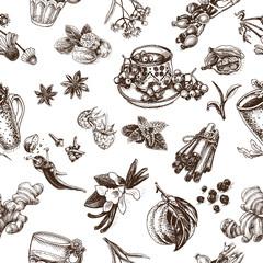 Vector illustration sketch - herbal tea - cup, berry guelder, viburnum, raspberry, rose hip, wild rose, dog rose, linden