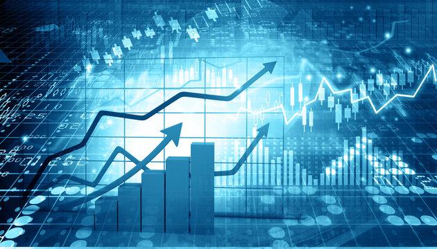 Stock market report. 3d illustration .