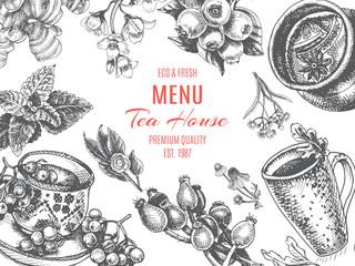 Vector illustration sketch - tea house. Card Menu restaurant. vintage design template, banner.