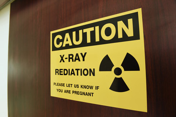 Symbol of radioactivity and radiation from x-ray machine