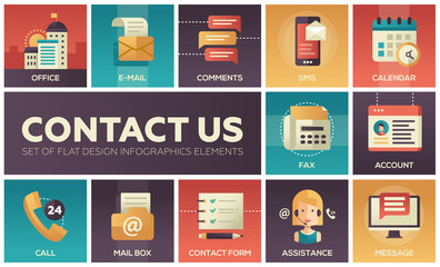 Contact Us - vector modern flat design icons set