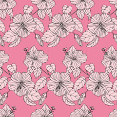 Fashion seamless pattern with rose hibiscus