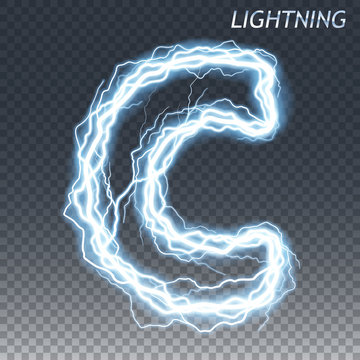 Lightning and thunder bolt or electric font, glow and sparkle effect