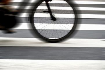 Pedestrian cross walk close up photo bicycle