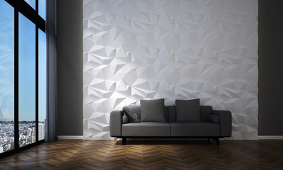 3D rendering interiors image scene design of luxury lounge area and living room Wall mural