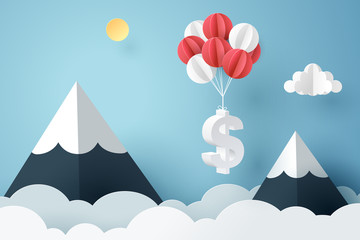 Paper art of dollar sign hanging with balloon
