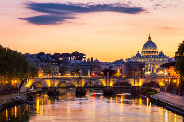 Poster de jardin Rome Vatican City, Rome, Italy, Beautiful Vibrant Night image Panorama of St. Peter's Basilica, Ponte St. Angelo and Tiber River at Dusk in Summer. Reflection of The Papal Basilica of St. Peter