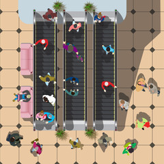 escalator at the Mall with visitors top view