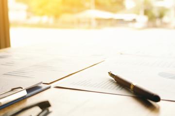 Pen on summary report on table office.