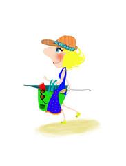 donna che va in spiaggia con borsa ed ombrellone