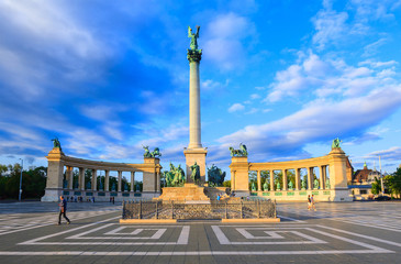 Millennium Monument on the Heroes' Square. Blurred-unrecognizable faces of people. Is one of the most-visited attractions in Budapest squares in Budapest, Hungary.