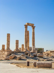 Hercules temple historical site at the downtown Amman, Jordan