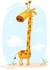 Cartoon giraffe charcter. Vector illustration isolated on  nature background
