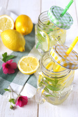Cool refreshing drink: pure water, lemon and mint
