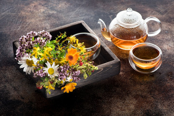 Herbal tea, various medical herbs and flowers. Herbal medicine