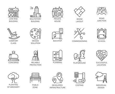 Vector set of 20 linear icons of city infrastructure. Pictogram in linear style for advertising and real estate projects, designation of public areas. Graphic contour logo isolated on white background