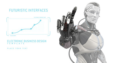Artificial hand touching screen. Futuristic robot working with virtual hud interface. Electronic buciness concept design template with copyspace. 3d rendering