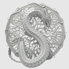 Glossy plaster ornament sculpture of a dragon in a shape of S as symbol of dollar currency. Ancient heraldic conceptual design. 3d rendering
