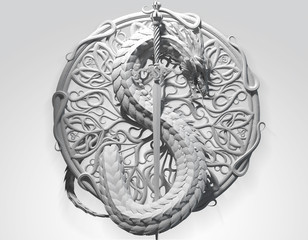 Plaster ornament sculpture of a dragon with sword in a shape of S as symbol of dollar currency. Ancient heraldic conceptual design. 3d rendering