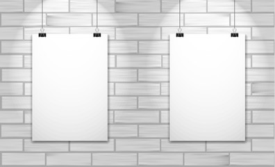 Two posters on white brick wall. Vector mock up illustration.