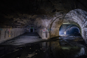 Bifurcate tunnel at the Object 221, abandoned soviet bunker, reserve command post of Black Sea Fleet