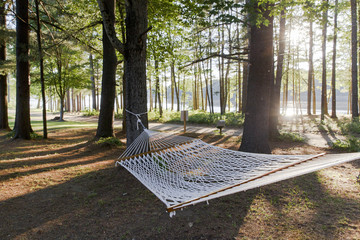 USA, Dresden, Maine. A hammock in between the trees with a river in the background. The evening sun is setting behind the trees