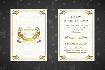 Christmas posters with golden emblems and decorations on the ornamental background.