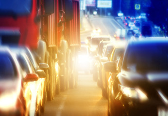Traffic cars rush hour, blurred background
