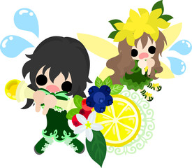 The illustration of a cute fairy and a cute girl with a stock of lemons