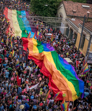 People in Taksim Square for LGBT pride parade
