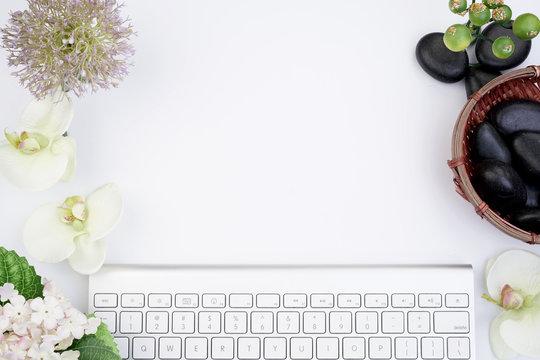 Female office desktop flat lay