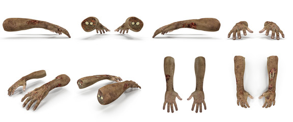 scary zombie hands renders set from different angles on a white. 3D illustration