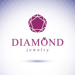 Vector glossy gemstone design element. Luxury diamond emblem, illustration.