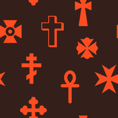 Seamless pattern with christian cross for your design