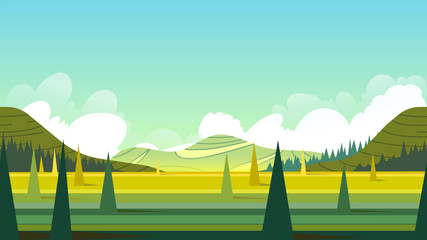 Horizontal seamless summer landscape. illustration.fits on mobile devices and may be scaled for desktop size. 1920x1080.
