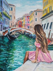 Romantic Lady in Venice - Italy - Original oil painting on canvas