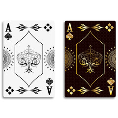 Ace of spades in classic black and golden color. Vector illustration.