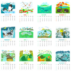 Monthly calendar 2018 with nature landscapes and animals,