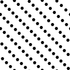 Geometric diagonal stripped seamless pattern with hexagon dots. Monochrome abstract vector texture.