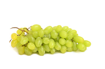 Bunch of fresh green grapes isolated on white background