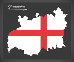 Gloucestershire map England UK with English national flag illustration