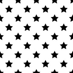 Geometric grid seamless pattern with star shapes. Monochrome abstract vector texture.