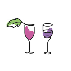 The wineglass color icon. Goblet symbol. Flat Vector illustration